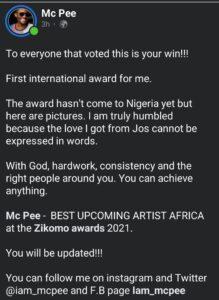Mc pee winner best upcoming artist Africa zikomo awards