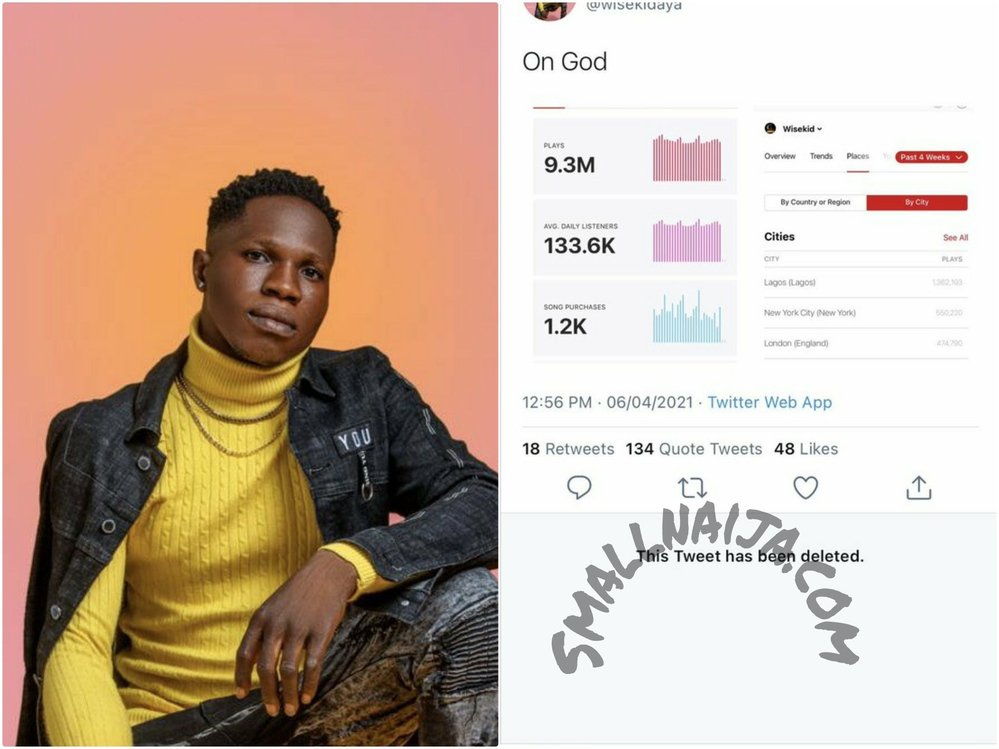 Wisekid makes 30million monthly from copying wizkid songs on amazon and apple