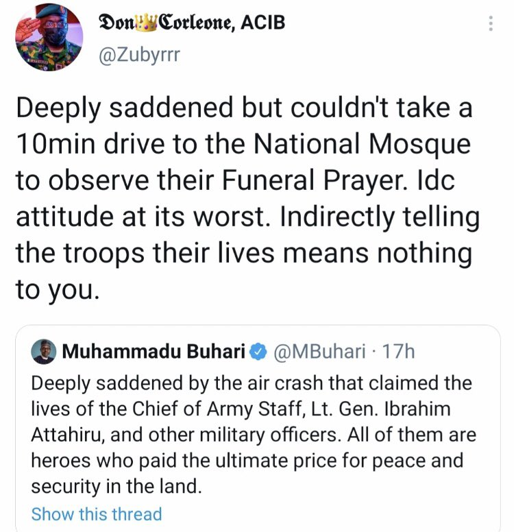 Nigerian blast president Buhari for not attending the burial ceremony of Nigeria Chief of army staff